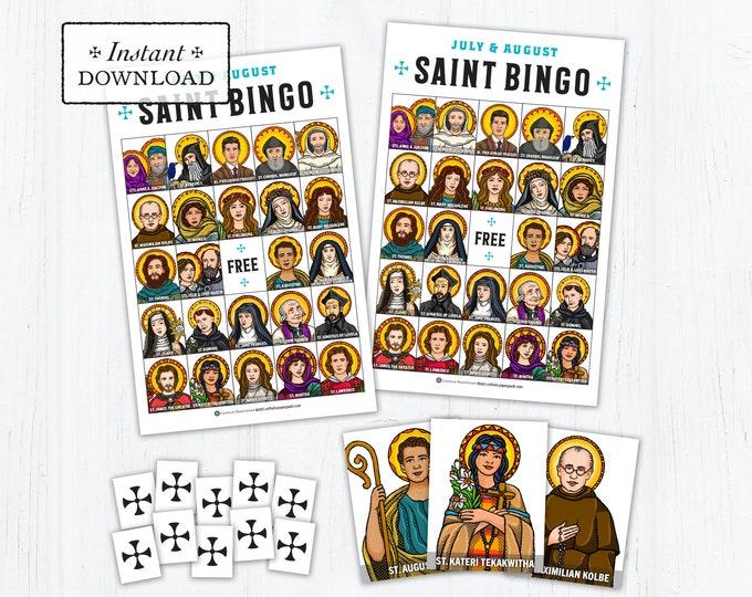 Saint Bingo Game - Saint Memory Game - July & August Saints - Catholic Games for Kids - Printable - DIY - PDF Print it - Catholic Game