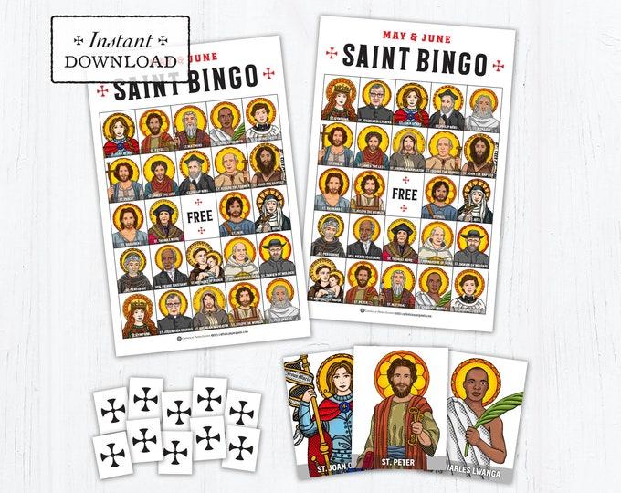 Saint Bingo Game - Saint Memory Game - May & June Saints - Catholic Games for Kids - Printable - DIY - PDF Print it Yourself - Catholic Game