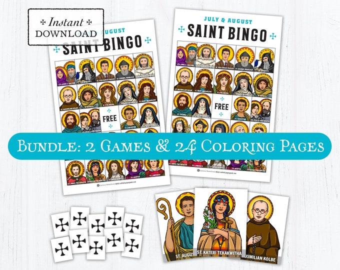 Saint Bingo Game Memory Game BUNDLE - BONUS Coloring Pages July & August Saints - Catholic Games for Kids - Printable PDF Print it Yourself