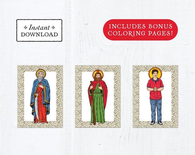 Catholic Saint Flash Cards October Set #2 - Printable - PLUS Bonus Coloring Pages! DIY Downloadable PDF - 8.5x11 - 3 Total Saint Cards