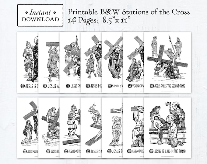 Stations of the Cross 8.5 x 11 Black & White Art Prints - Printable - DIY - PDF Print it Yourself - Classroom Stations of the Cross