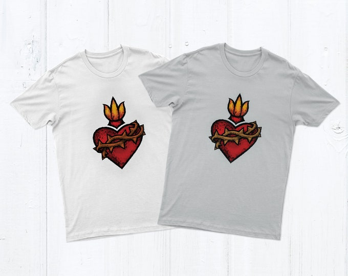 Sacred Heart Unisex Men's or Women's Catholic T-shirt Adult Graphic T-shirt Crew Neck White or Gray