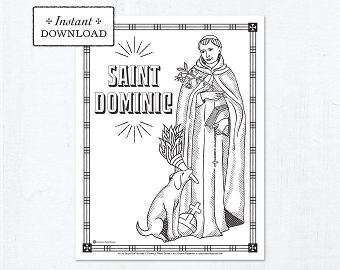 Catholic Coloring Page - Saint Dominic - Catholic Saints - Printable Coloring Page - Digital - PDF
