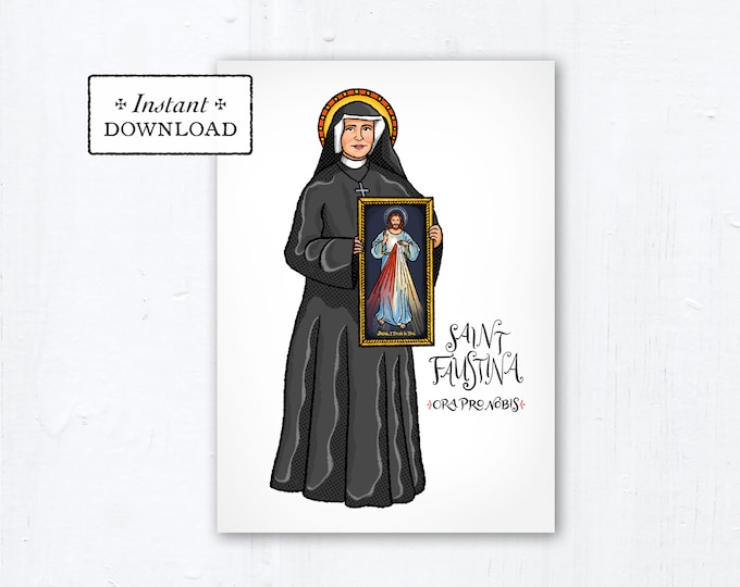 "St. Faustina Kowalska Card - Art Print - Instant Download - DIY Downloadable PDF 5""x7"""