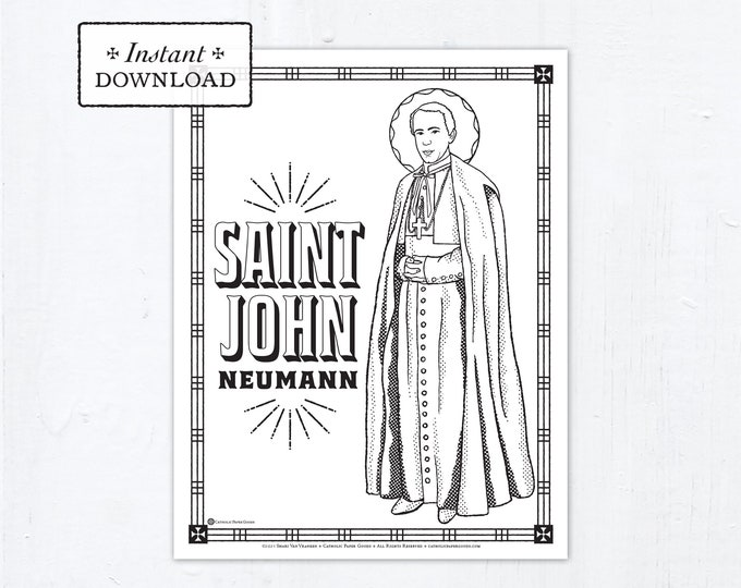 Catholic Coloring Page - Saint John Neumann - Saint John Nepomucene Neumann - Catholic Saints - Printable Coloring Page - Digital - PDF