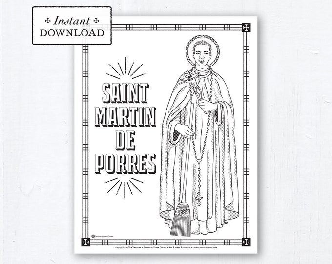 Catholic Coloring Page - Saint Martin de Porres - Catholic Saints - Printable Coloring Page - Digital - PDF
