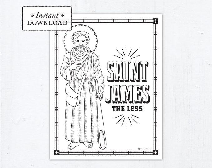 Catholic Coloring Page - Saint James the Less - Catholic Saints - Printable Coloring Page - Digital - PDF
