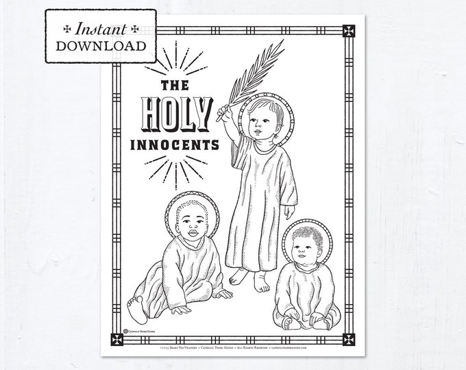 Catholic Coloring Page - The Holy Innocents - Catholic Saints - Printable Coloring Page - Digital - PDF