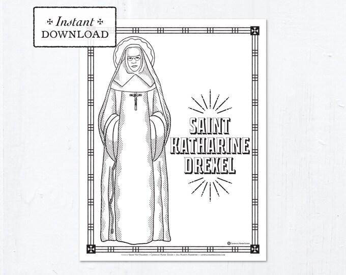 Catholic Coloring Page - Saint Katharine Drexel - Catholic Saints - Printable Coloring Page - Digital - PDF