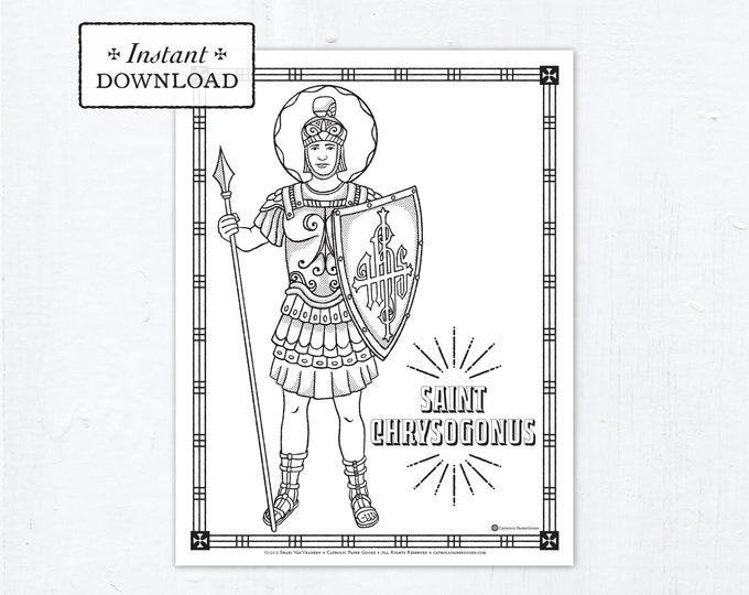 Catholic Coloring Page - Saint Chrysogonus - Catholic Saints - Printable Coloring Page - Digital - PDF