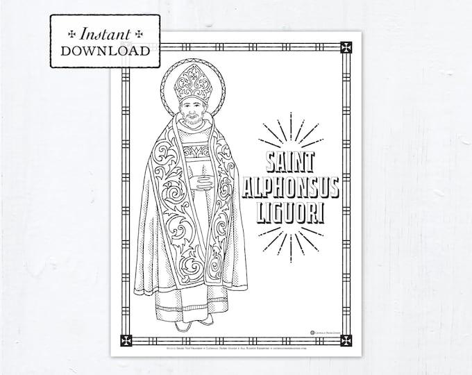 Catholic Coloring Page - Saint Alphonsus Liguori - Catholic Saints - Printable Coloring Page - Digital - PDF