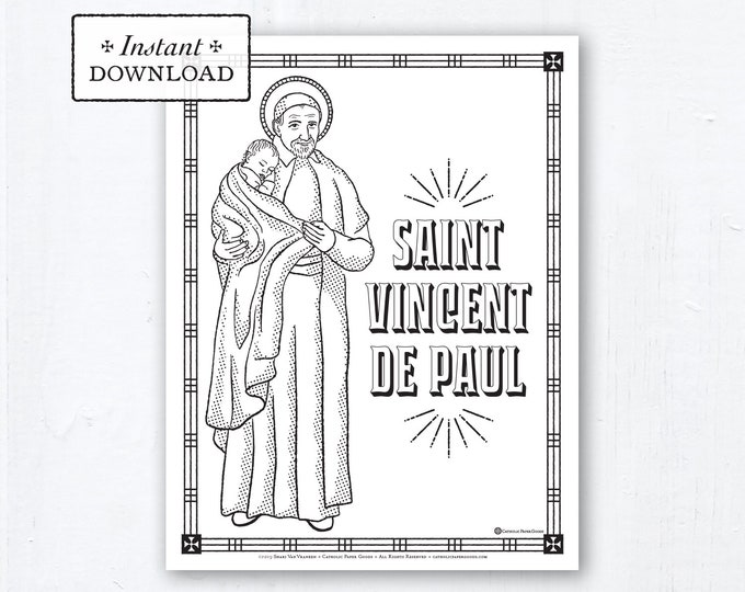 Catholic Coloring Page - Saint Vincent de Paul - Catholic Saints - Printable Coloring Page - Digital - PDF