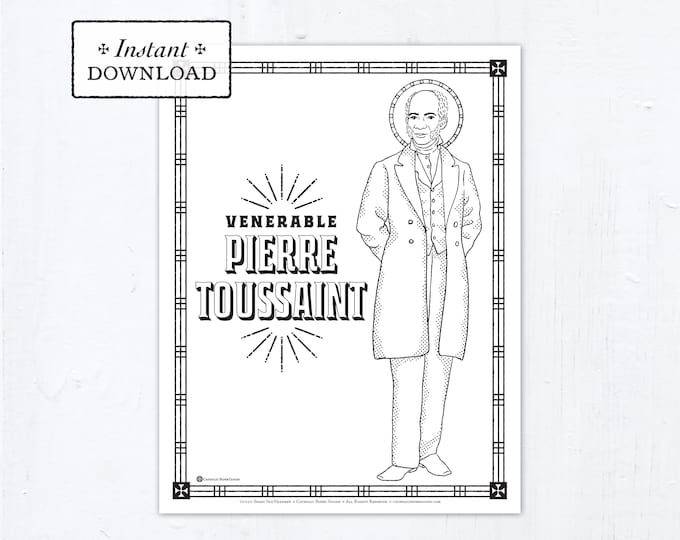 Catholic Coloring Page - Venerable Pierre Toussaint - Catholic Saints - Printable Coloring Page - Digital - PDF