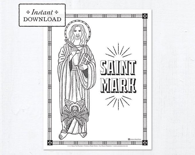 Catholic Coloring Page - Saint Mark the Evangelist - Catholic Saints - Printable Coloring Page - Digital - PDF