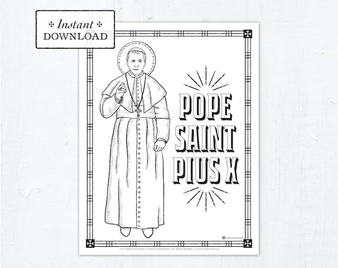 Catholic Coloring Page - Saint Pius X - Catholic Saints - Printable Coloring Page - Digital - PDF