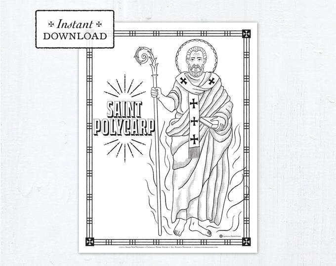 Catholic Coloring Page - Saint Polycarp - Catholic Saints - Printable Coloring Page - Digital - PDF
