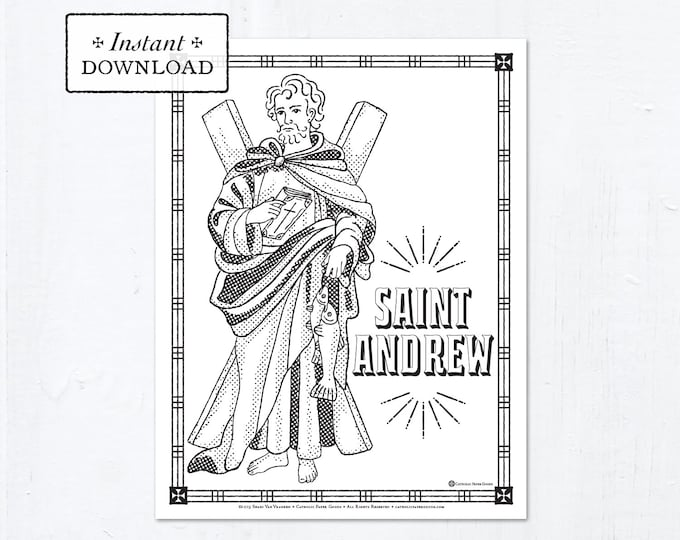 Catholic Coloring Page - Saint Andrew - Catholic Saints - Printable Coloring Page - Digital - PDF