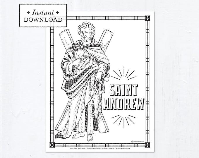 Catholic Coloring Page - Saint Andrew - Catholic Saints - Printable Coloring Page - Digital - PDF