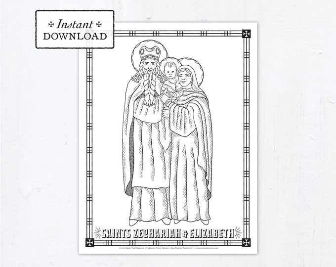 Catholic Coloring Page - Saint Zechariah & Saint Elizabeth - Catholic Saints - Printable Coloring Page - Digital - PDF