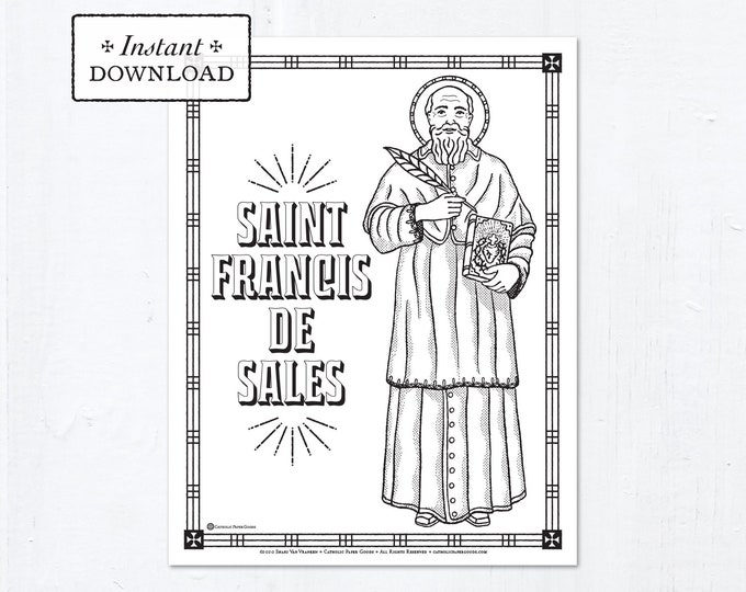 Catholic Coloring Page - Saint Francis de Sales - Catholic Saints - Printable Coloring Page - Digital - PDF