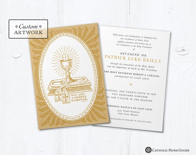 "Catholic Priest Ordination, First Mass OR Reception Invitation - Customizable - DIY Downloadable Template PDF 5""x7"" or 4""x6"""