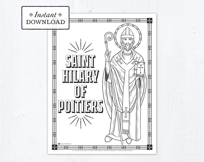 Catholic Coloring Page - Saint Hilary of Poitiers - Catholic Saints - Printable Coloring Page - Digital - PDF