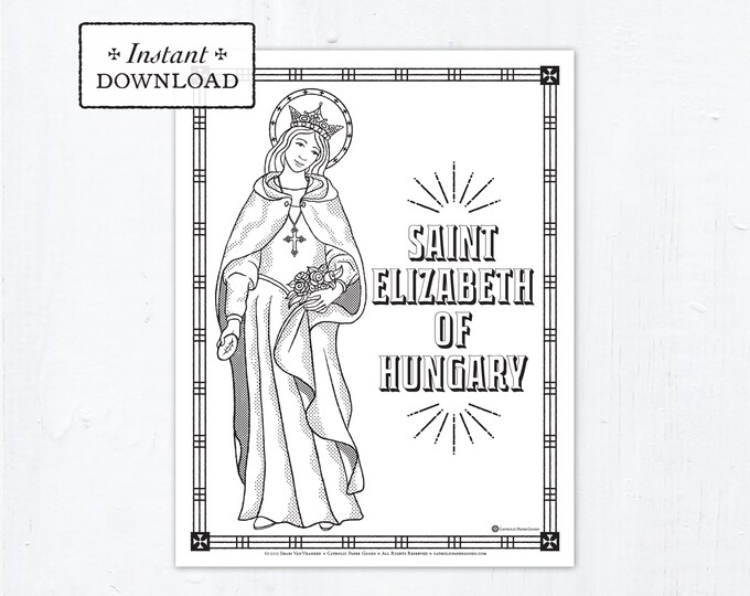 Catholic Coloring Page - Saint Elizabeth of Hungary - Catholic Saints - Printable Coloring Page - Digital - PDF
