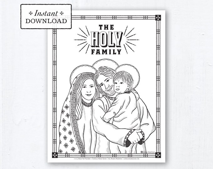 Catholic Coloring Page - The Holy Family - Catholic Saints - Printable Coloring Page - Digital - PDF