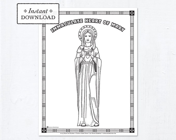 Catholic Coloring Page - The Immaculate Heart of Mary - Catholic Saints - Printable Coloring Page - Digital - PDF