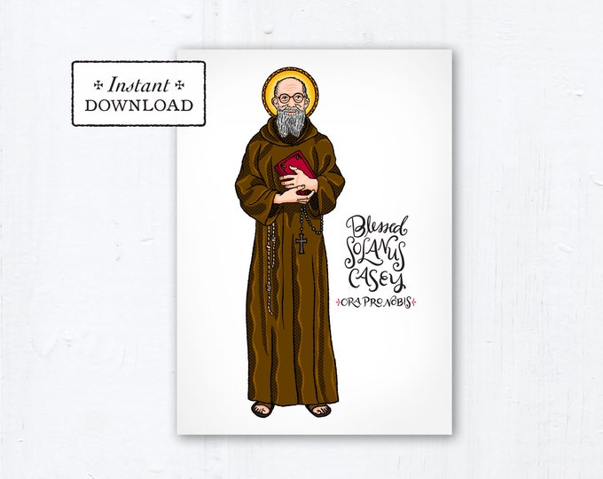 "Blessed Solanus Casey Card - Art Print - Instant Download - DIY Downloadable PDF 5""x7"" - Saint Printable Art Print Confirmation Gift Baptism"