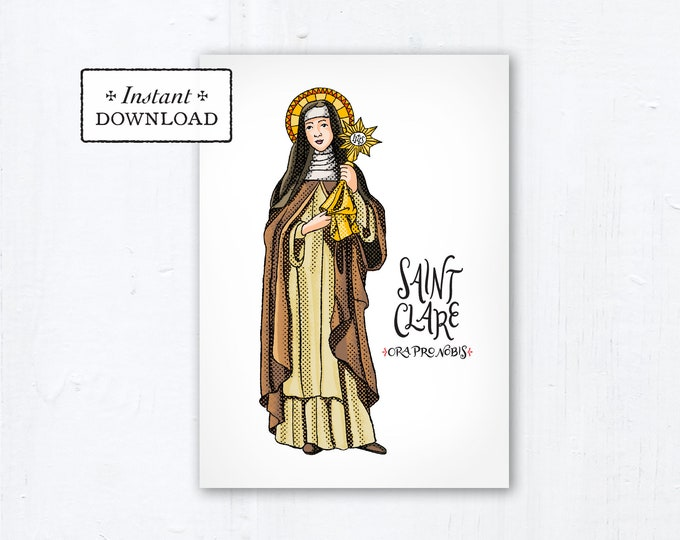 "Saint Clare of Assisi Card - Art Print - Instant Download - DIY Downloadable PDF 5""x7"""