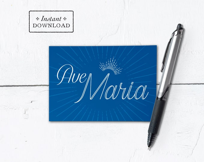 "Hail Mary Greeting Card Latin - Mother's Day - Instant Download - DIY Downloadable PDF 4.875""x3.5"" 4 Bar"