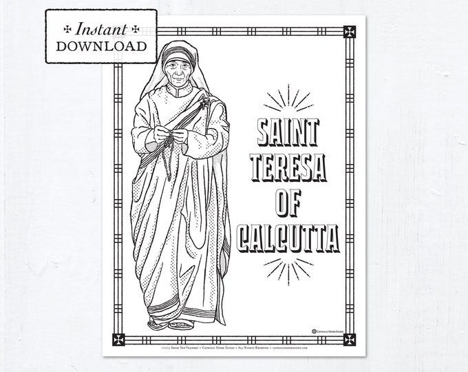 Catholic Coloring Page - Saint Teresa of Calcutta - Catholic Saints - Printable Coloring Page - Digital - PDF