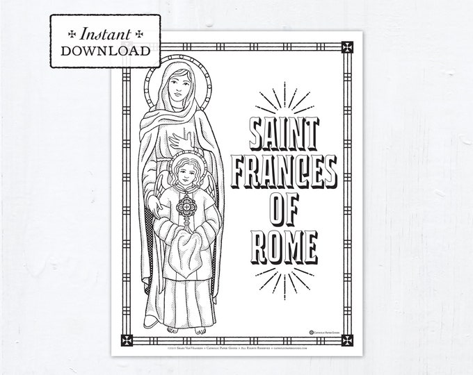 Catholic Coloring Page - Saint Frances of Rome - Catholic Saints - Printable Coloring Page - Digital - PDF
