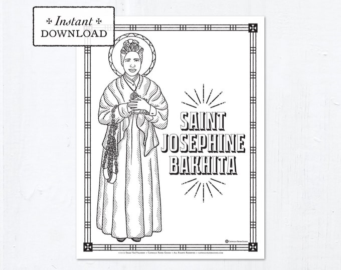 Catholic Coloring Page - Saint Josephine Bakhita - Catholic Saints - Printable Coloring Page - Digital - PDF