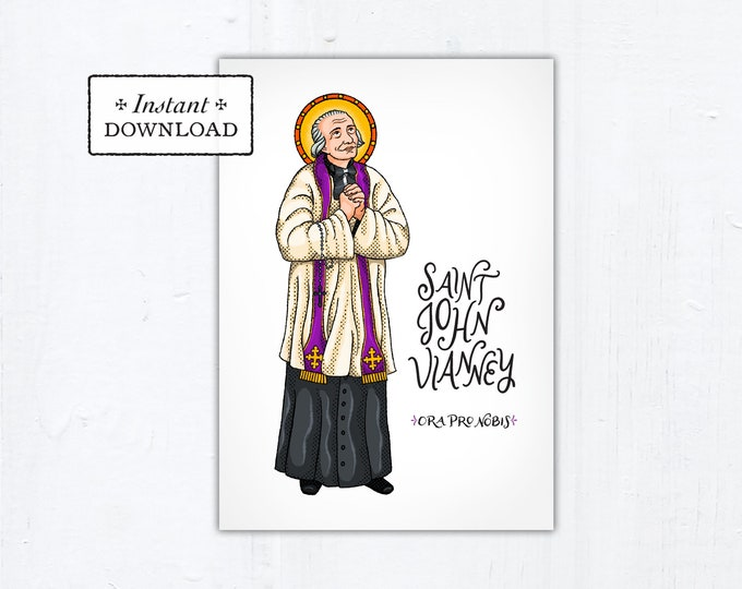 "St. John Vianney Card - Art Print - Instant Download - DIY Downloadable PDF 5""x7"""