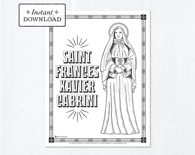 Catholic Coloring Page - Saint Frances Xavier Cabrini - Catholic Saints - Printable Coloring Page - Digital - PDF