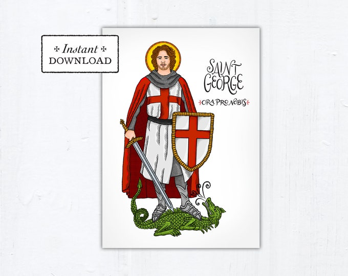 "St. George Card - Art Print - Instant Download - DIY Downloadable PDF 5""x7"""