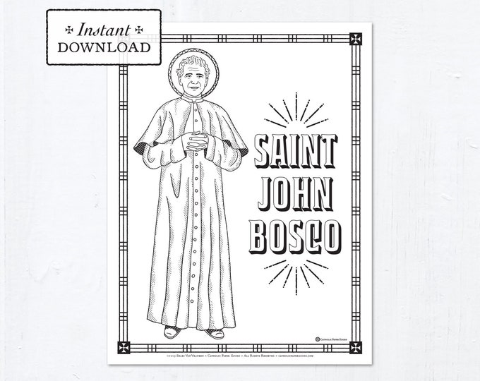 Catholic Coloring Page - Saint John Bosco - Catholic Saints - Printable Coloring Page - Digital - PDF
