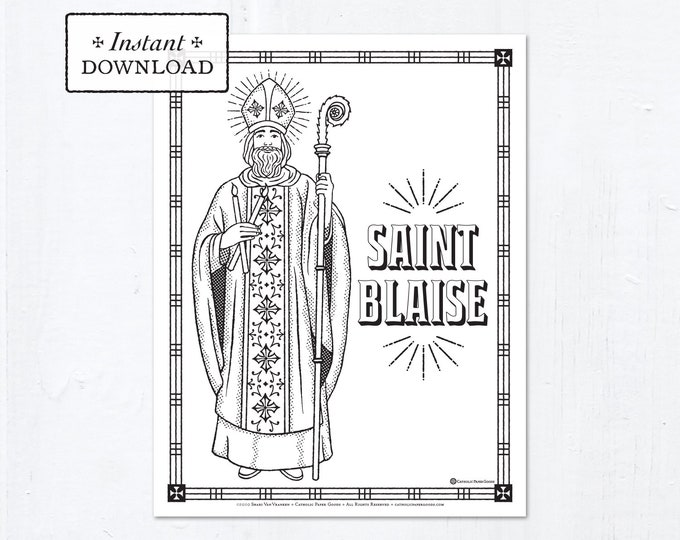 Catholic Coloring Page - Saint Blaise - Catholic Saints - Printable Coloring Page - Digital - PDF