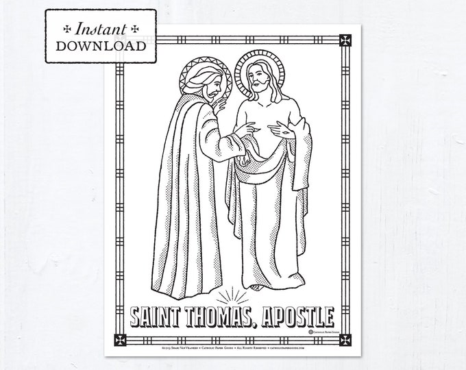 Catholic Coloring Page - Saint Thomas Apostle - Catholic Saints - Printable Coloring Page - Digital - PDF