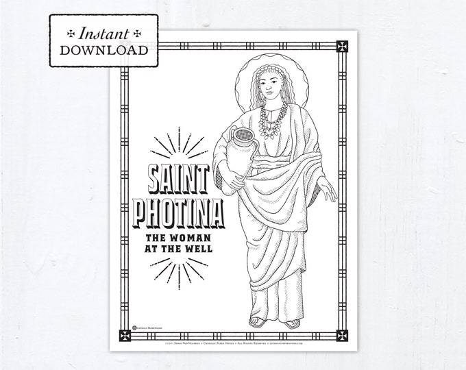 Catholic Coloring Page - Saint Photina - The Woman at the Well - Catholic Saints - Printable Coloring Page - Digital - PDF
