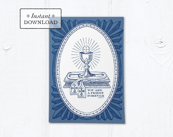 "Catholic Priestly Ordination Card Navy Blue Ciborium - Instant Download - DIY Downloadable PDF 5""x7"""