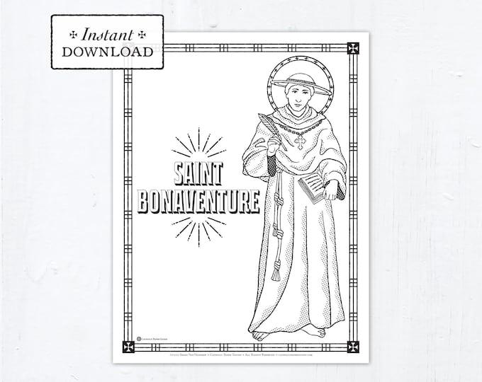 Catholic Coloring Page - Saint Bonaventure - Catholic Saints - Printable Coloring Page - Digital - PDF