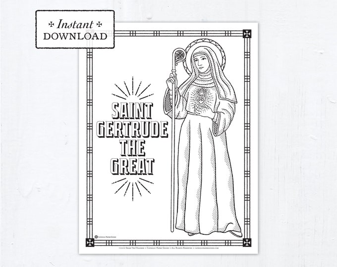 Catholic Coloring Page - Saint Gertrude the Great - Catholic Saints - Printable Coloring Page - Digital - PDF