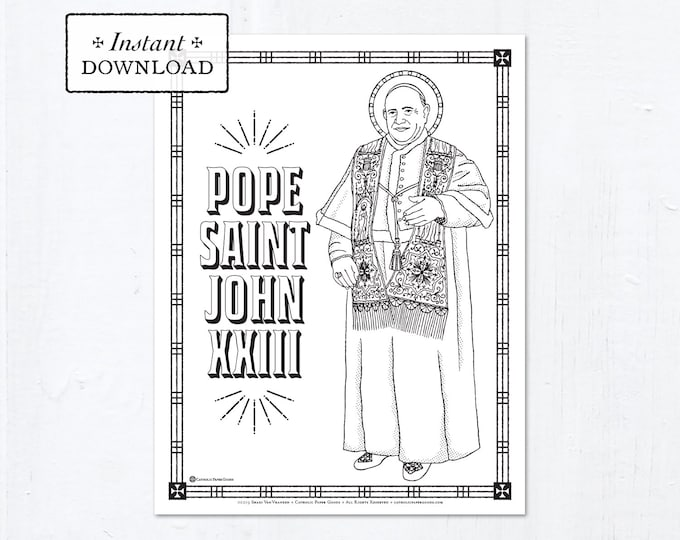 Catholic Coloring Page - Pope Saint John XXIII - Catholic Saints - Printable Coloring Page - Digital - PDF