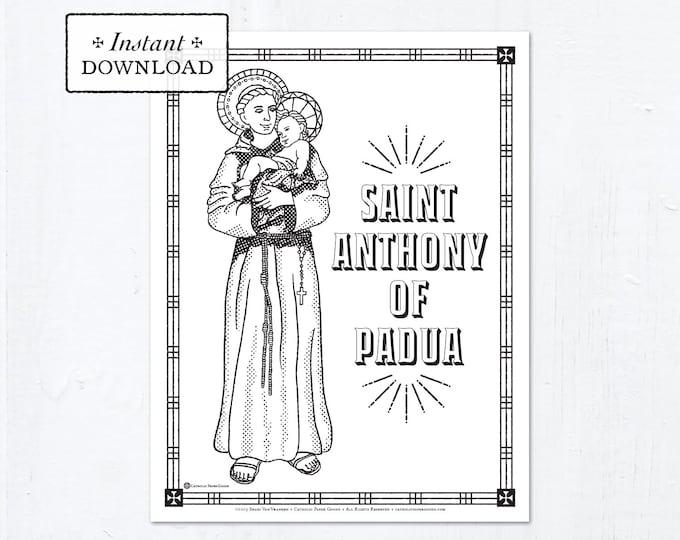 Catholic Coloring Page - Saint Anthony of Padua - Catholic Saints - Printable Coloring Page - Digital - PDF
