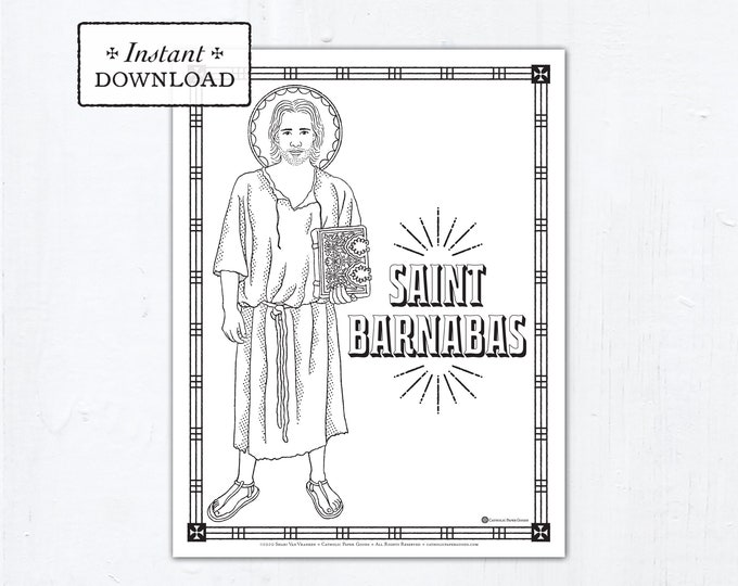 Catholic Coloring Page - Saint Barnabas - Catholic Saints - Printable Coloring Page - Digital - PDF