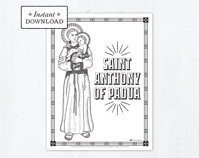 Catholic Coloring Page - Saint Anthony of Padua - Catholic Saints - Printable Coloring Page - Digital - PDF