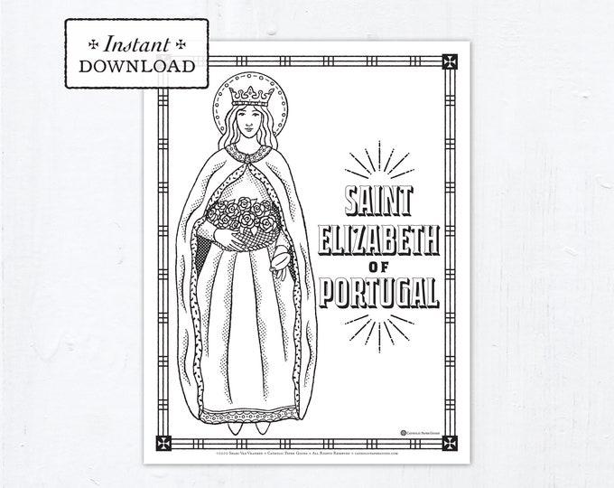 Catholic Coloring Page - Saint Elizabeth of Portugal - Catholic Saints - Printable Coloring Page - Digital - PDF